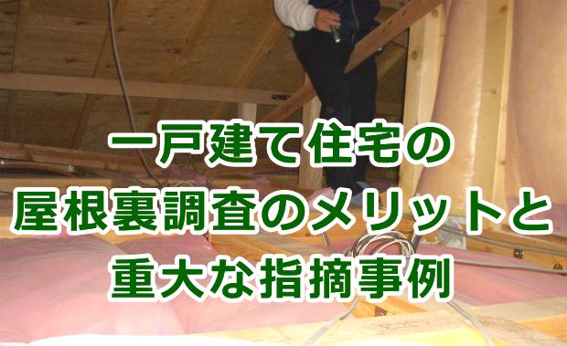 一戸建て住宅の屋根裏調査のメリットと重大な指摘事例